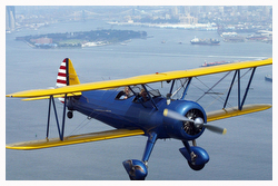 Aerial photography biplane over new york city