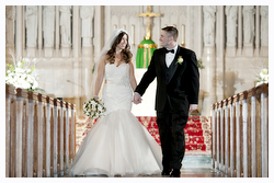Wedding photography bride groom aisle Saint Stephen's Church Kearny, NJ